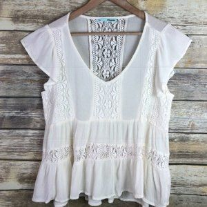 White Peasant Blouse with Lace